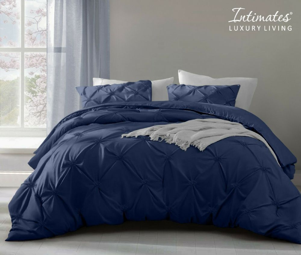Pintuck Pinch Pleated Duvet Cover And Pillowcase Textured Stripe Polycotton Bedding Set Navy Blue